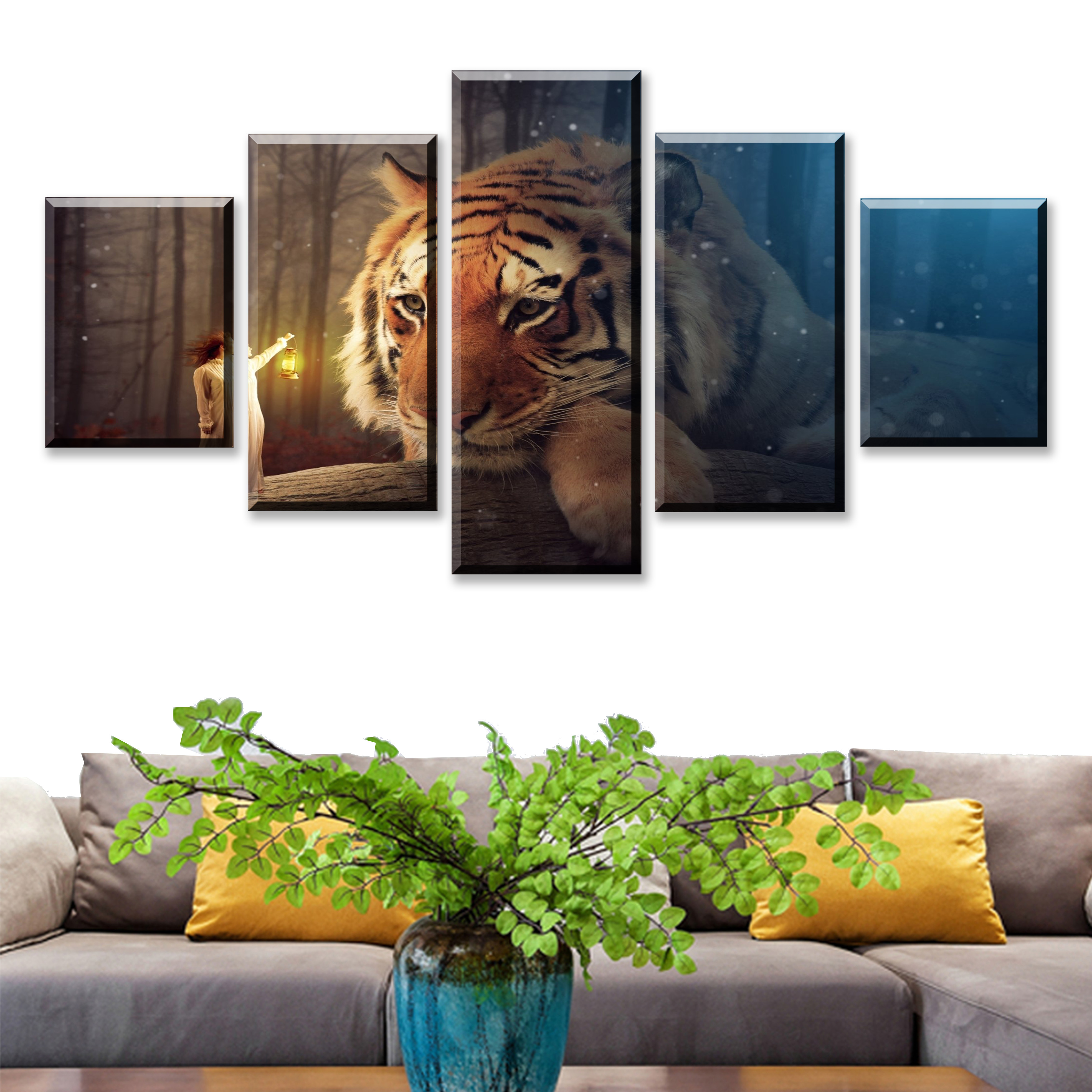 Canvas Pictures Modular Wall Art Framework 5 Pieces Fantasy Animal Tiger Modern Painting Living Room HD Prints Poster Home Decor in Painting Calligraphy from Home Garden