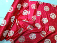 Telas woven damask traditional silk tissu fabric meters cheongsam kimono Red flowers Embroidery textile fabrics Fashion skirt