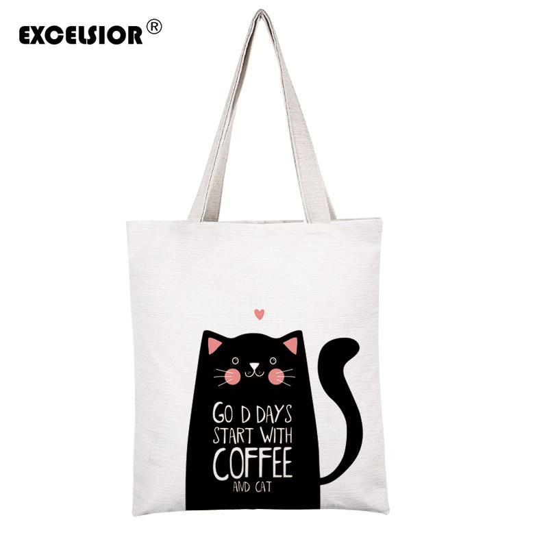 Cartoon Cats Printed Beach Zipper Bag Bolsa Feminina Canvas Tote Shoulder Bag Sac A Main Femme De Marque Bolsos