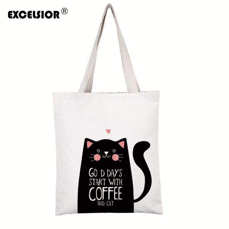 Sac de femmes d'impression de chats de bande dessinée EXCELSIOR personnaliser sacs à bandoulière en toile sac Bolsa Feminina un sac à main femme de marque Bolsos