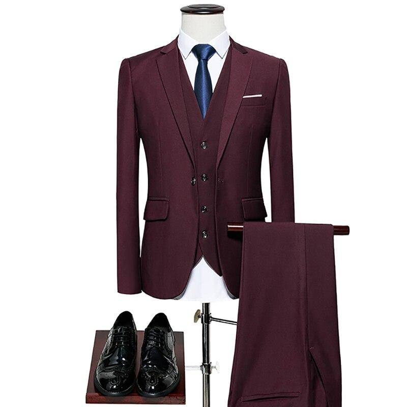 2018 Latest Coat Pant Design Men Suit 10 Color Plus 6XL 3 Psc (Jacket+Vest+Pant)Business Suit Tuxedo Slim Wedding Groom Men Suit