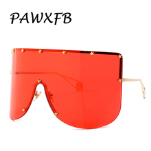 PAWXFB 2019 Vintage Shield Visor Mask Sunglasses Women Men Oversized Windproof Sun Glasses One Peice Big Frame Goggles