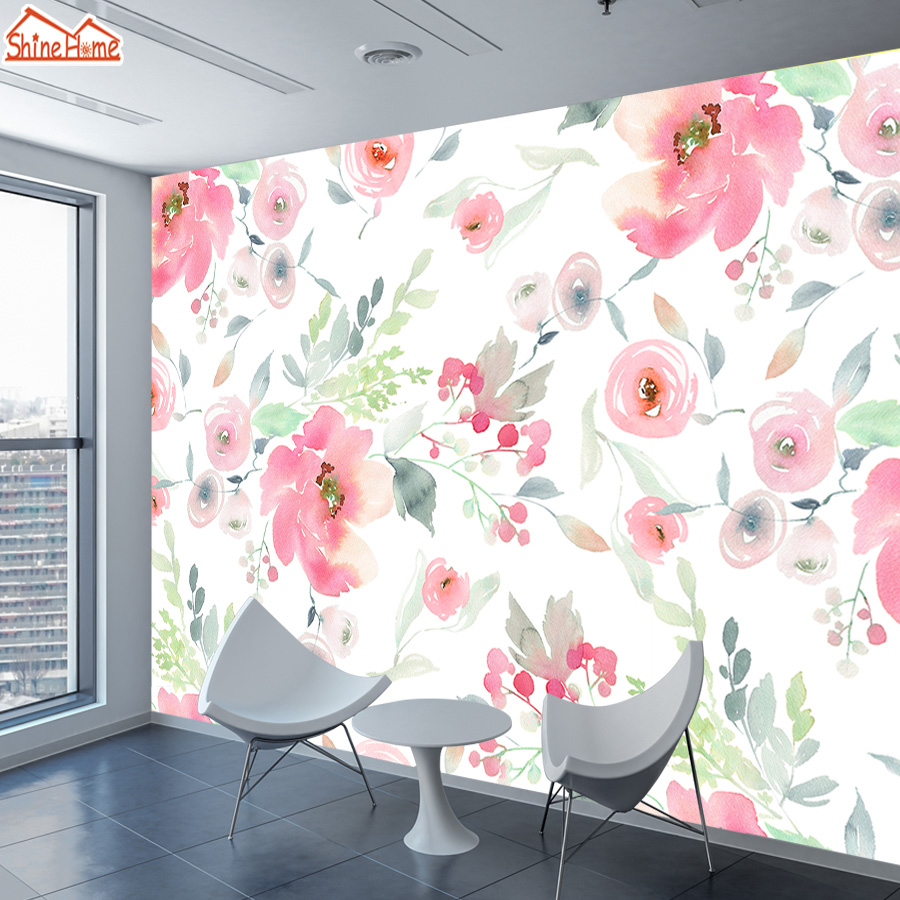ShineHome-Vintage Mural 3d Wall Paper Wallpaper Home Decor Wallpapers For Living Room Kids 3d Bedroom Pink Flower Murals Rolls
