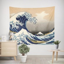 Kanagawa Waves pattern Tapestry wall hanging boho Huge waves Tapestries Bedspread beach towel yoga mats blankets 150*200