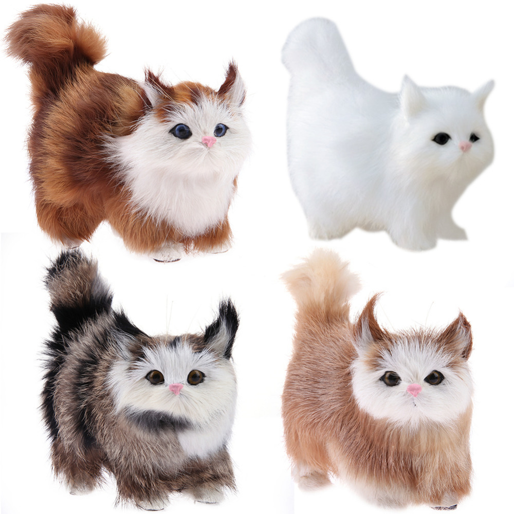 Animals Stuffed Toys Lovely Electric Simulation Plush Cat Toys Stuffed Doll with Sound Kids Birthday Gift Home Ornaments