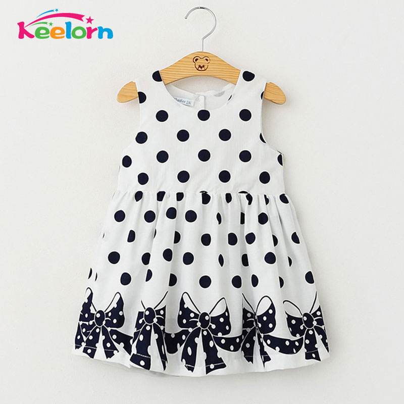 Kid baby clothing Dress 2017 New Casual Summer Style Girls Dress Sleeveless Dot Printing Princess Dress Kids Clothes Party Dress azel elegant latest new child dress for 2 3 year old girls vestidos fashion summer kid clothing little girls daily clothes 2017
