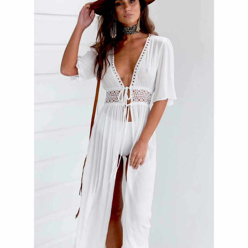98df93a7f3 Women Summer Bikini Boho Beach Dress Vestidos Beachwear Swimwear Kaftan  Split Deep V Hollow Out Lace