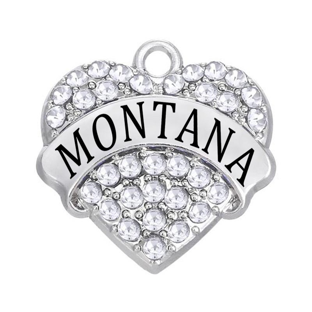Fashion Usa State Montana Label Charm Heart Rhinestone Crystal Pendant Diy Gift Souvenir Jewelry