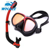 Whale High Quality And Mirrored Lens Diving Mask Snorkel Set Scuba Diving Gear Mask And Snorkel