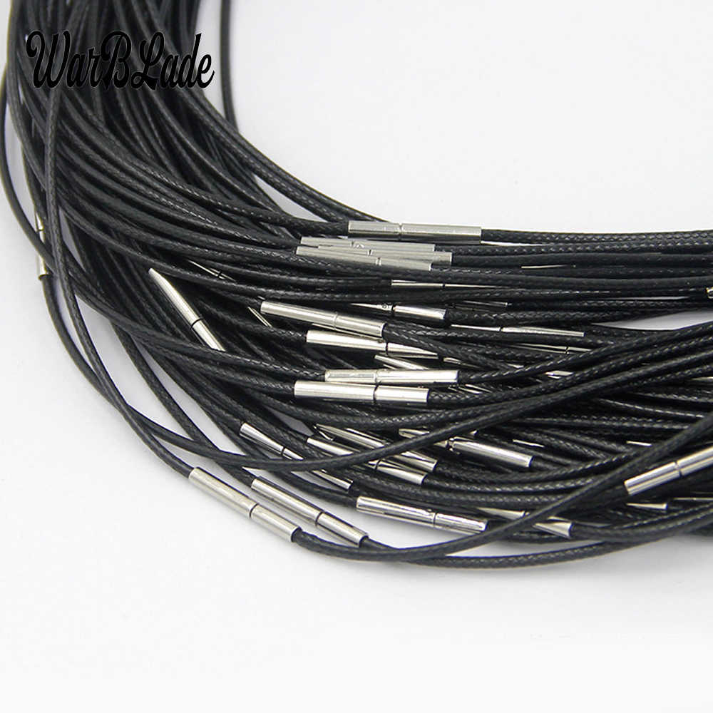 1/1.5/2/3mm Necklace Cord Black Leather Cord Wax Rope Lace Chain With Stainless Steel Rotary Buckle For DIY Necklace Jewelry