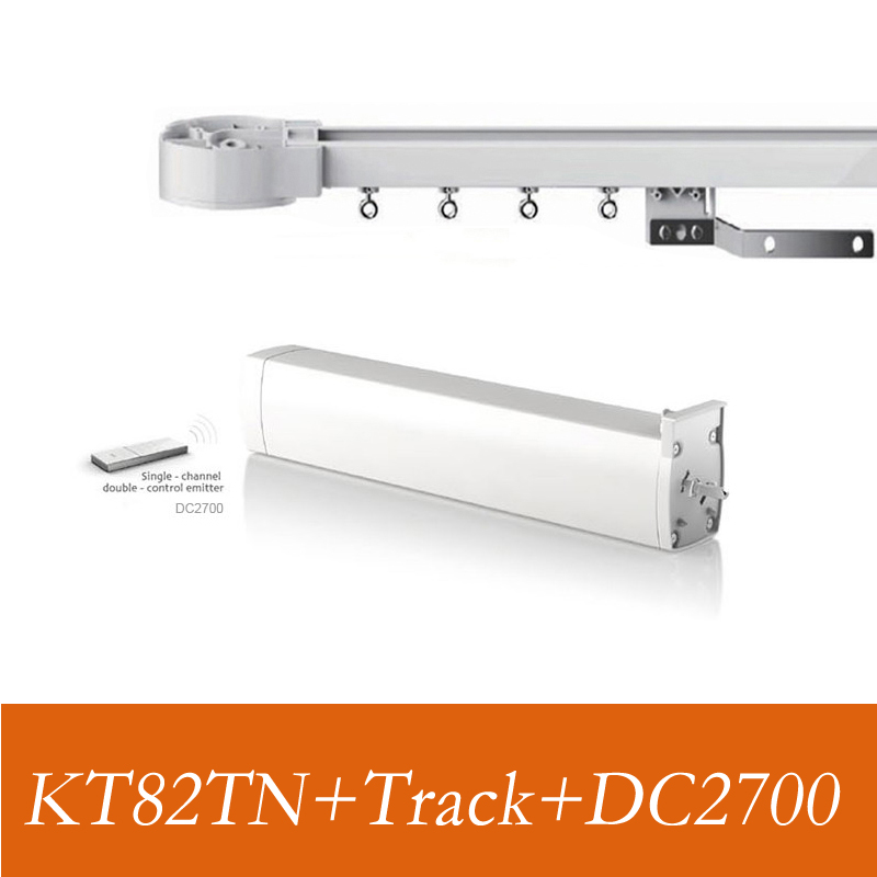 Dooya KT82TN,DC Electric Curtain Motor, Built-in AC 100-240V transformer, high  Silence track,Remote Control for smart home