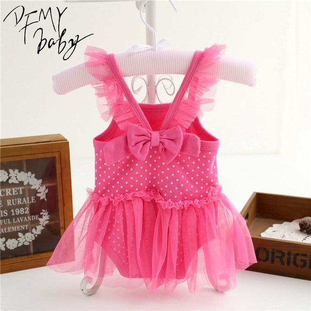 Newborn Baby Dress Summer Cotton Exquisite Bow Baby Rompers Lovely