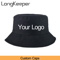 DIY Custom Logo 10pcs/lot Women Men Bucket Hats Fishing Hats Embroidery Letter Printing Logo Bucket Cotton fishermen Cap