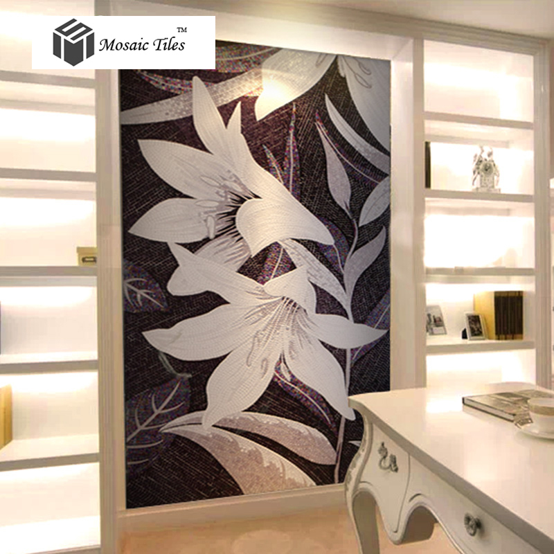 Black and white bisazza style flower mosaic home wall art design ideas parquet mosaics tile - Tiles design for living room wall ...