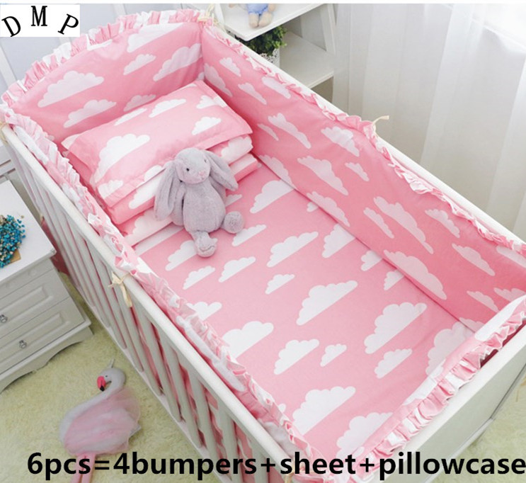 Promotion! 6PCS Crib cot set Girl Baby bedding set kids kit berco cama Baby Sheets,include(4bumper+sheet+pillowcase)