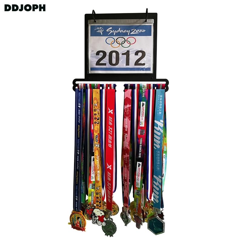 Médaille cintre avec course bib titulaire Sport médaille affichage cintre Marathon médaille titulaire avec pvc bib pochettes