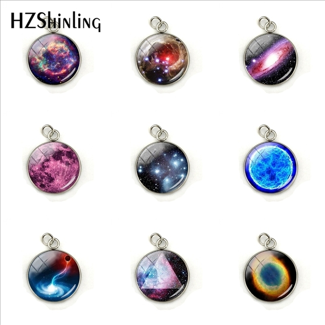 Nebula Space Pendant Astronomy Geek Jewelry, Nebula Charm Pendants Galaxy Space Glass Dome Stainless Steel Pendant Accessories