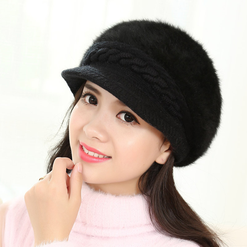 New Brand Hat Autumn And Winter Knitted Hat Female Thermal Winter Rabbit Fur Hat Knitted Windproof Knitted Hat Female Beanies