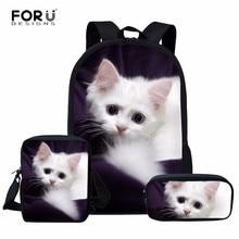 FORUDESIGNS Animal Wolf Cat Print 3pcs Girls School Bag Kids Kindergarten Backpack Japanese Schoolbag Student Cartoon Bookbags