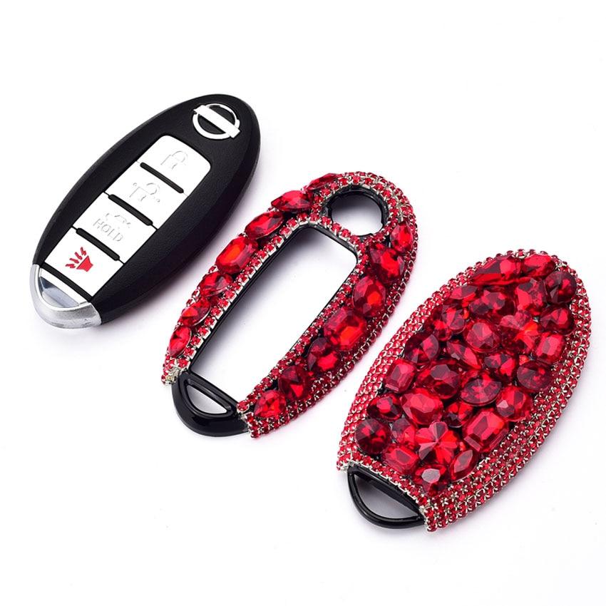 Élégant boîtier de clé de voiture en cristal de diamant pour Nissan Qashqai Tiida Livida Maxima Altima gt-r Sentra Murano TEANA Juke