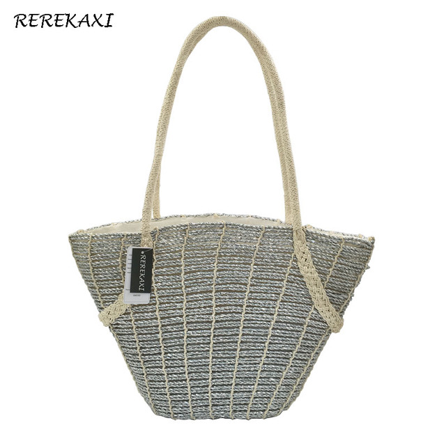 REREKAXI Fashion Women s Handmade Straw Beach Bags Travel Shopping Lady s Handbag  Woven Shoulder Bag Bohemia Female Tote 39d246fb775e0