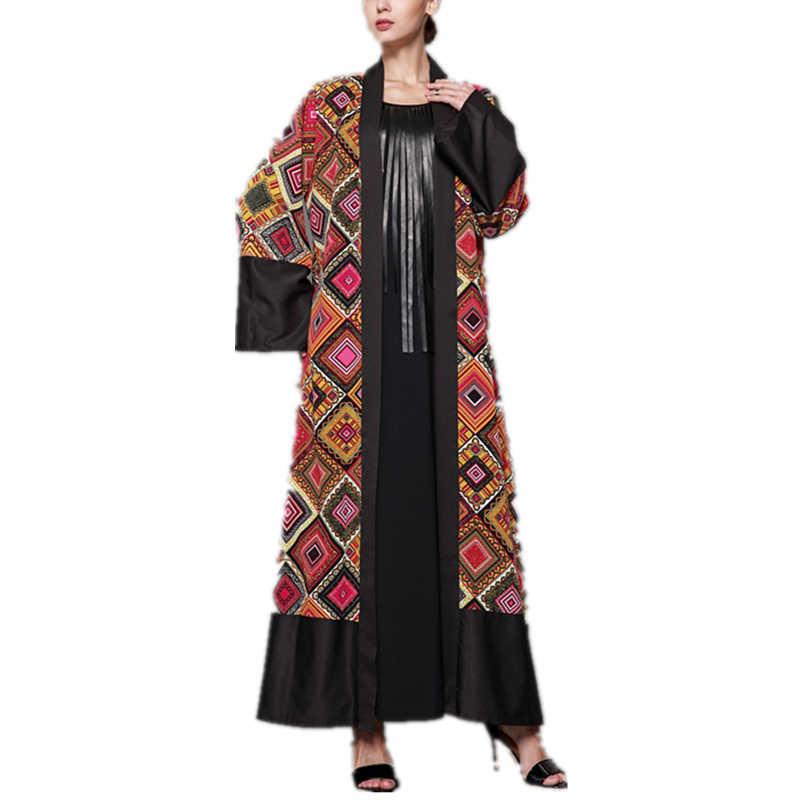 95a7ebd7aabb7 Kimono Cardigan Dubai Abaya Dress Plus Size Muslim Dress S-5XL Long Kaftan  Maxi Dresses Empire Robe Elegant Womens Clothing#D379