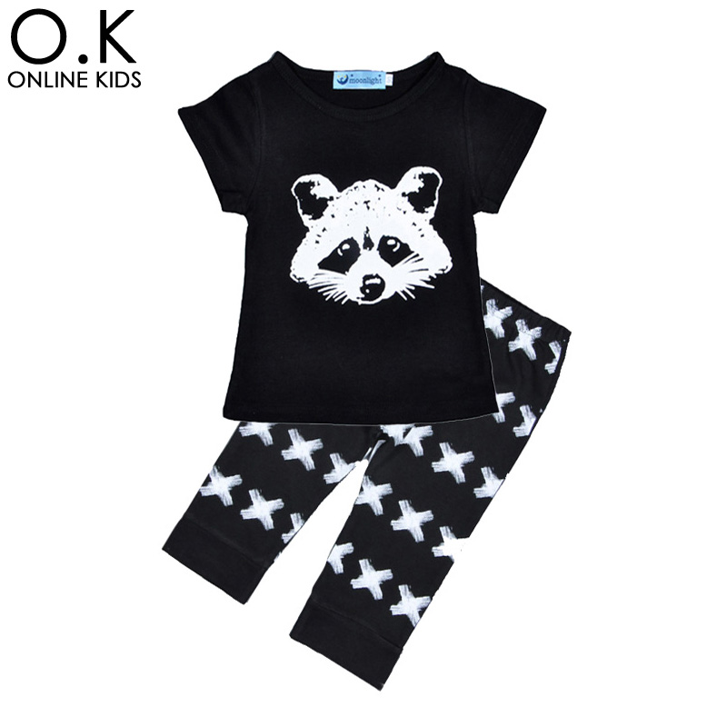 Boys Clothing Sets Summer Cartoon Clothing Set Boys Girls Cartoon T-shirt+Cross Pants 2016 Summer Cartoon sets Baby Boy Clothes