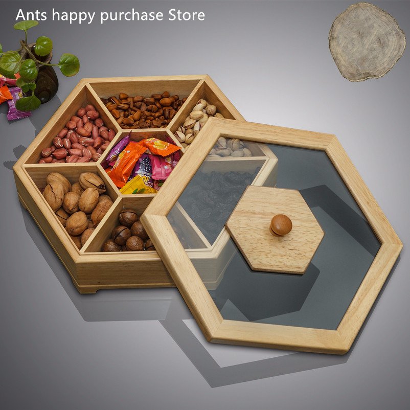 White Oak Solid wood candy box 6 grid With cover Dry fruit box in the living