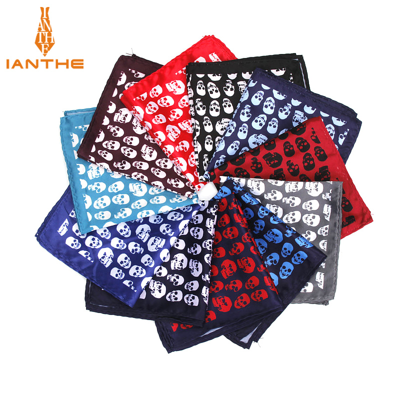 Brand New Men's Handkerchief Vintage Skull Print Pocket Square Soft Silk Hankies Wedding Party Business Hanky Chest Towel Gift