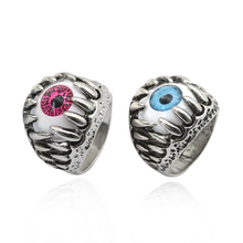 Punk Devil Eyes Rings Mens Retro Gothic Red Blue Claws Hip Hop Rock Fingers Knight Jewelry