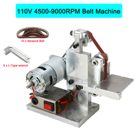 110 240V DIY Electric Belt Sander Polishing Grinding Mount Machine Edge Sharpener Wood Metal Angle Grinder Free 10xAbrasive Belt