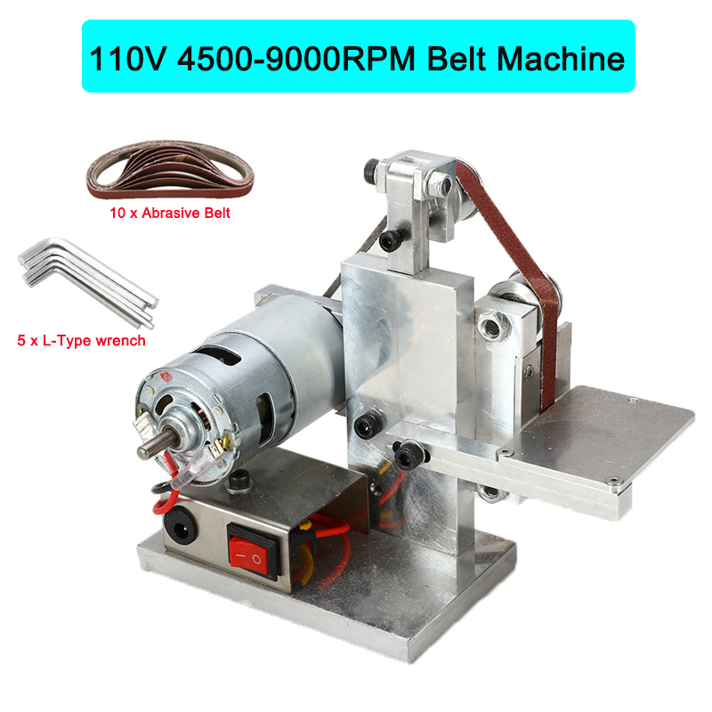 110-240V bricolage ponceuse à bande électrique polissage meulage monture Machine affûteuse de bord bois métal meuleuse d'angle gratuit 10 xabrasif ceinture