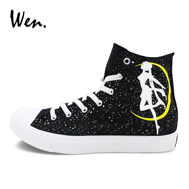 Wen Canvas Sneakers Women Men Hand Painted Shoes Anime Sailor Moon Skateboarding Shoes High Top Lace Up Sports Flat
