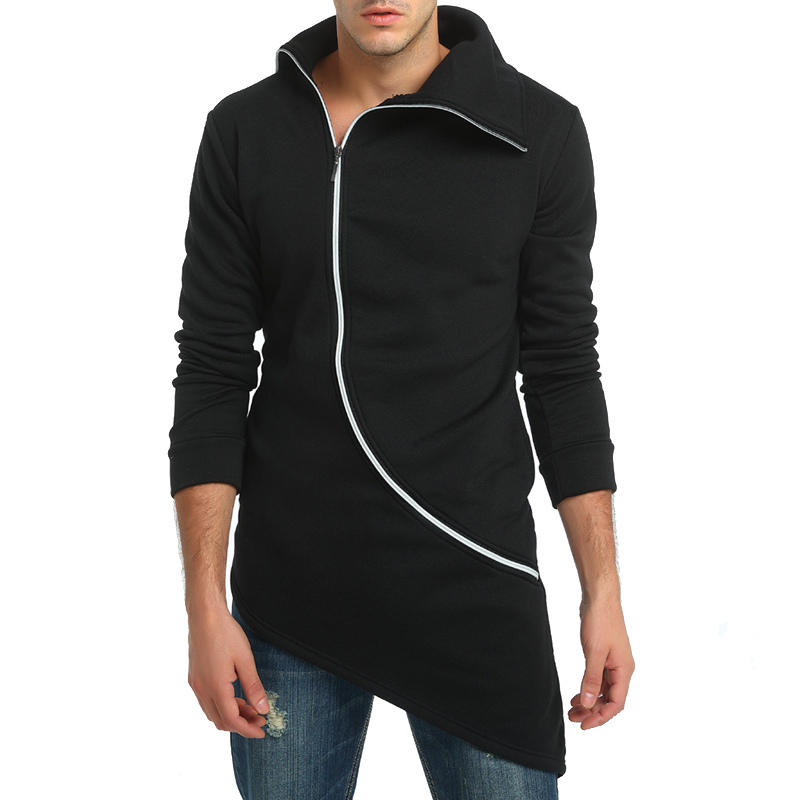 Brand 2018 Solid Color Simple Zipper Cardigan Long Section Hoodies Men Fashion Tracksuit Male Sweatshirt Hoody