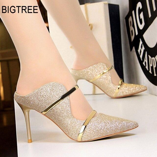BIGTREE 靴女性はセクシーなハイヒールゴールド女性の靴のファッションハイヒールの結婚式の靴パンプス新党の靴 9 センチメートル