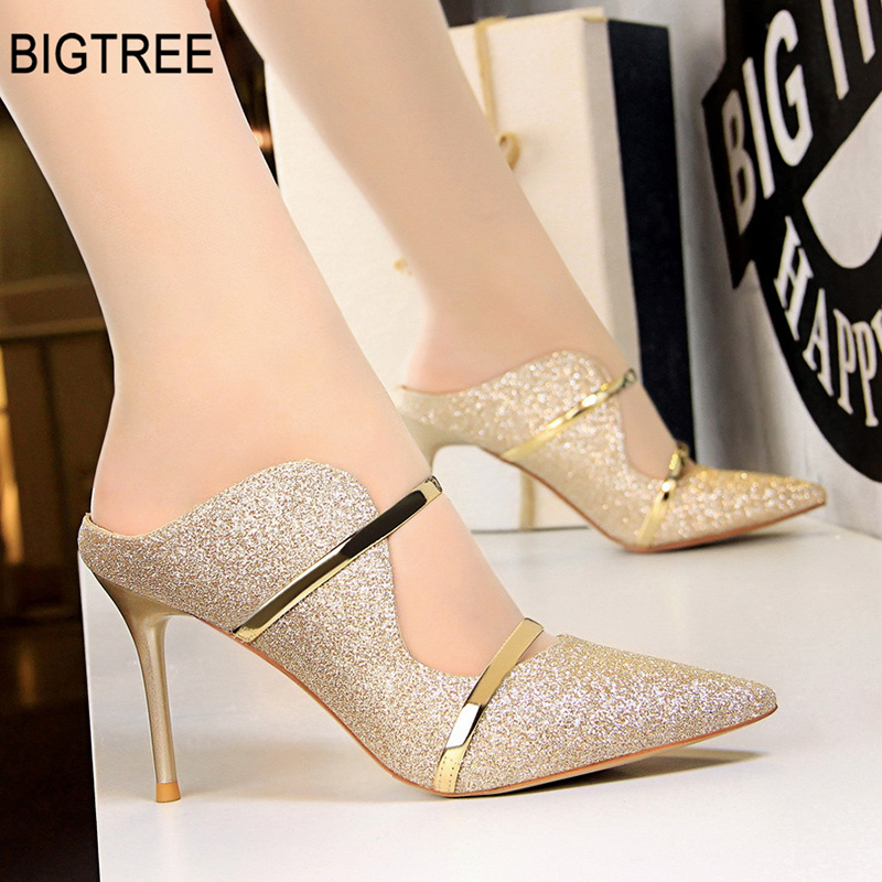 BIGTREE Shoes Women Pumps Sexy High Heels Gold Women Shoes Fashion High Heel Pumps Women Wedding Shoes New Party Shoes 9CM