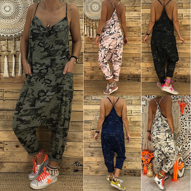 Fashion Camouflage Print Wide Leg Pants Summer Strap Sexy Loose Rompers Women Jumpsuit Casual Women Romper Lom8731 Wide Selection; Women's Clothing