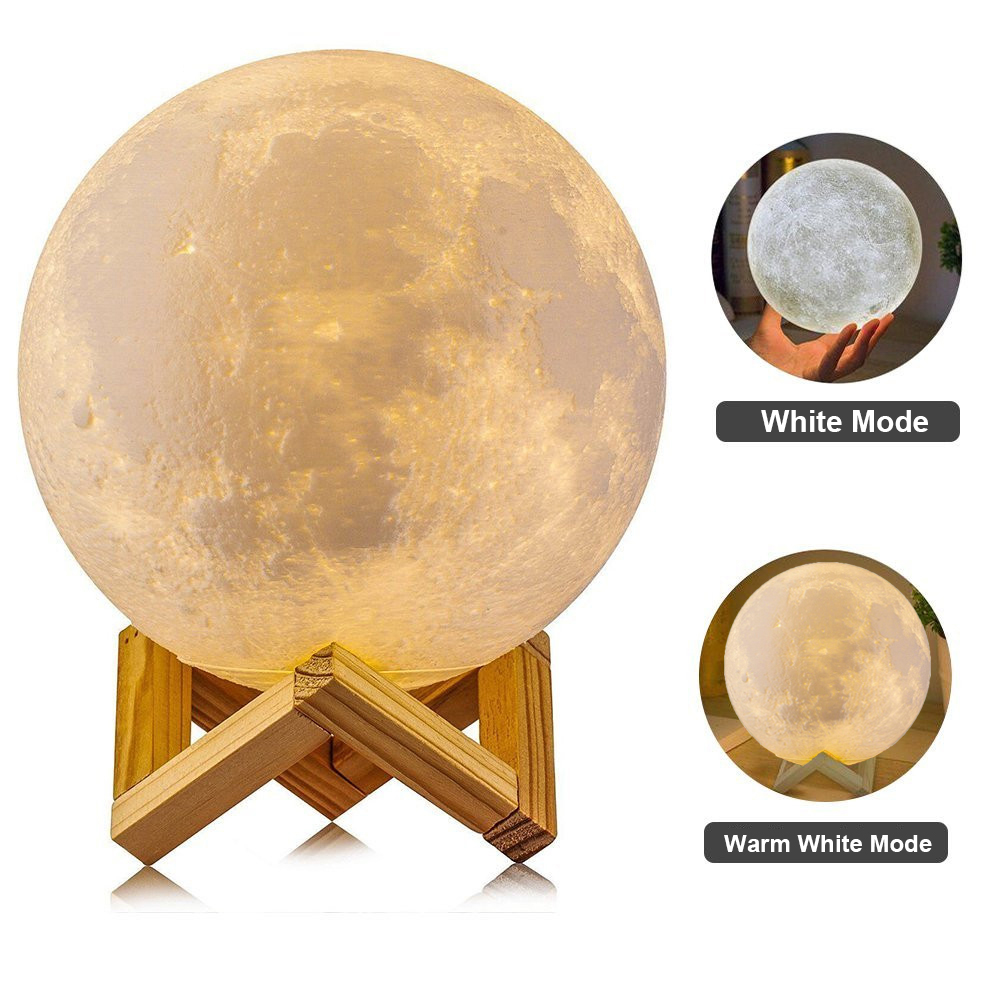 3D Print Moon Lamp Rechargeable 2 Color Change led Light Touch Switch Lamp Moon Bedroom Bookcase Night Light Creative Gifts magnetic floating levitation 3d print moon lamp led night light 2 color auto change moon light home decor creative birthday gift