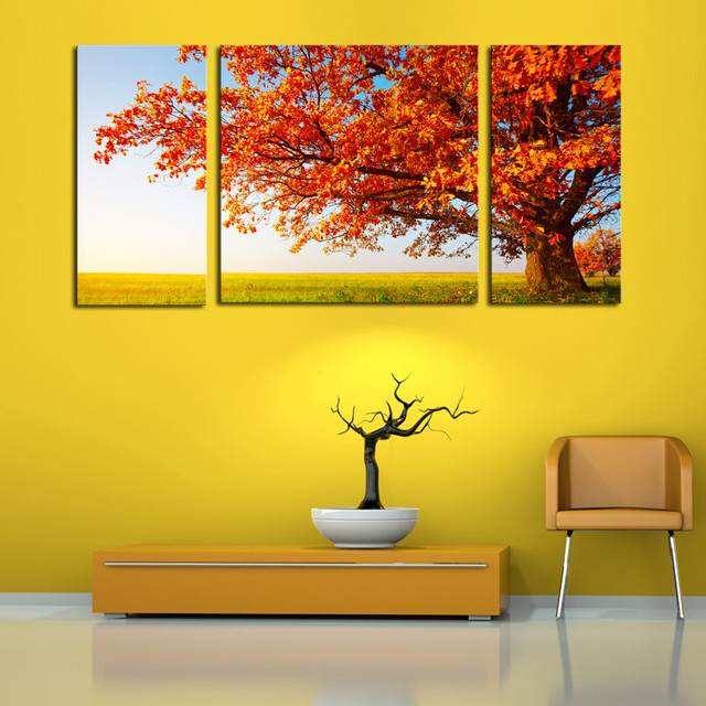Aliexpress.com : Buy Unframed 3 Pcs Abstract Red Trees Art Home ...