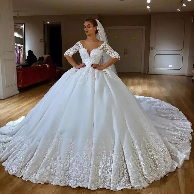 2019 New White Ivory bridal dresses wedding dress royal train custom size plus size wedding gowns luxury wedding dress