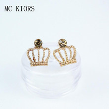 Fashion Gold Colors Rhinestone Tiny Princess Crown Cross Crystal Stud Earrings For Women Wedding Joyas Pendientes Girl Jewelry(China)