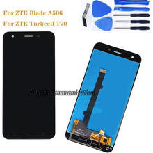 For zte Blade A506 LCD +touch screen components black and white high quality replacement for ZTE Turkcell T70 5.2