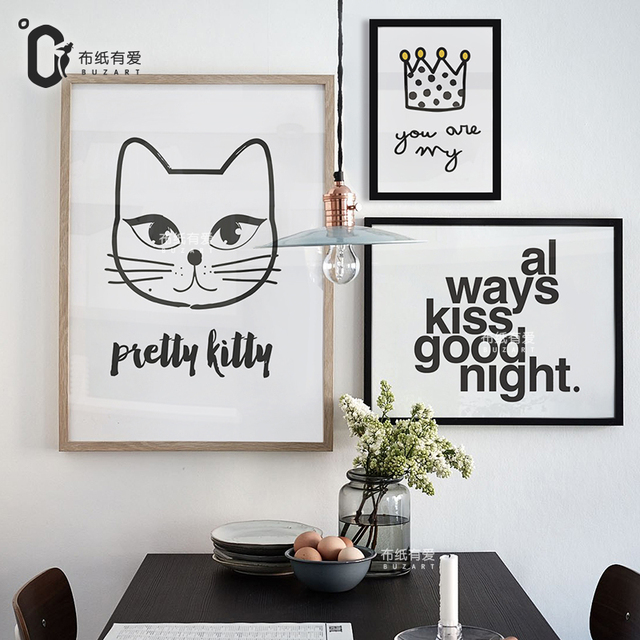 Pretty kitty black and white posters nordic painting wall decor picture quote canvas prints no frame