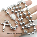 8mm beads Fashion silver Rosary Beads Pearls Cross Pendant Long Beaded Necklace Chain New KN087B
