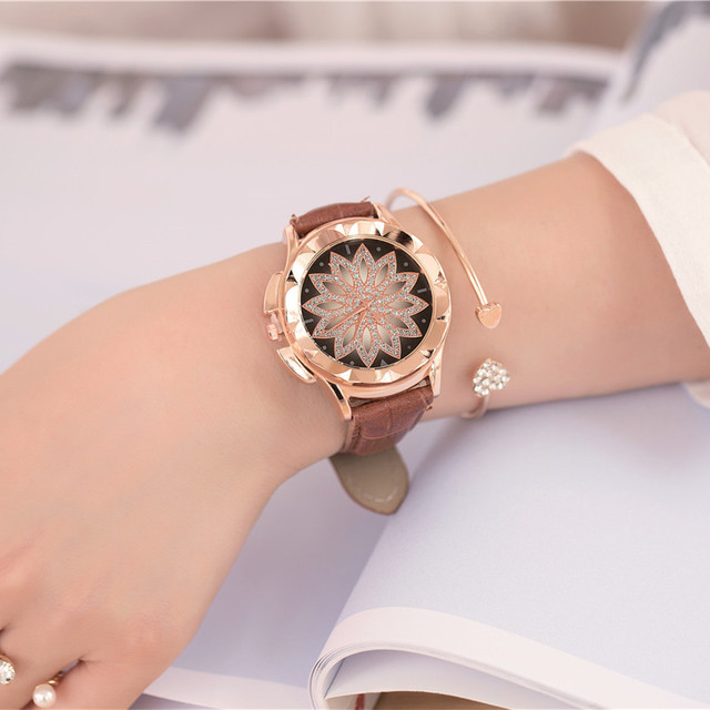 2018 Fashion Ladies Watch Women Leather Strap Rhinestone Quartz Women's Watch Gi
