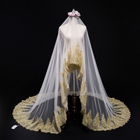 Arabic Style Bridal Veils Long Champagne Gold Lace Appliques Luxury Dubai Wedding Veils One Layer 3.5M Cathedral voile mariage