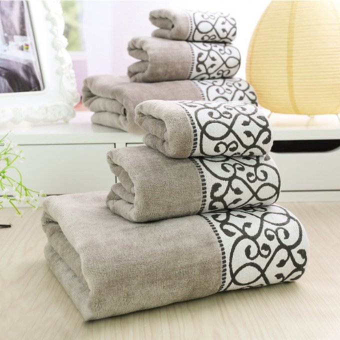3pcs Decorative Luxury Cotton Bath Towels Sets For Adults