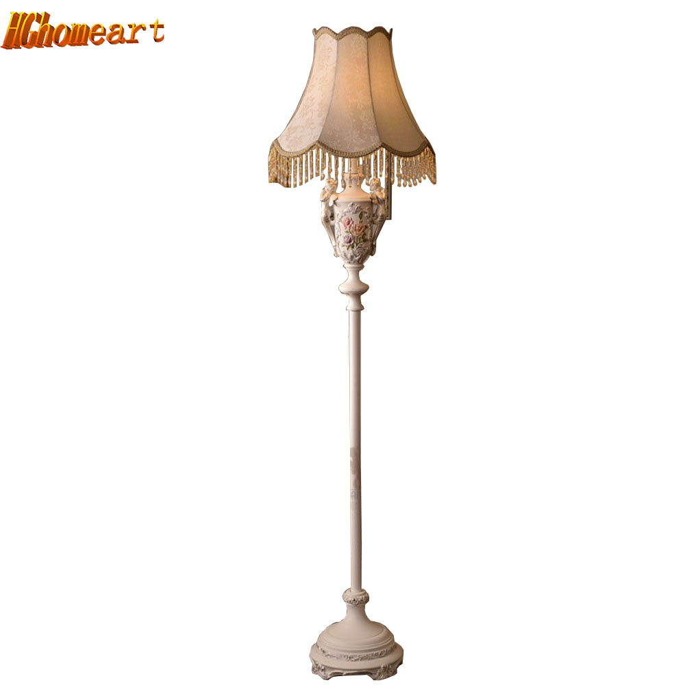 Resin European style fabric lampshade modern floor lamps for living room E27 110V-220V fabric european lighting floor lamp bedroom floor lights crystal floor lamps wedding decoration sitting room lighting modern floor lamps for living room lamp modern