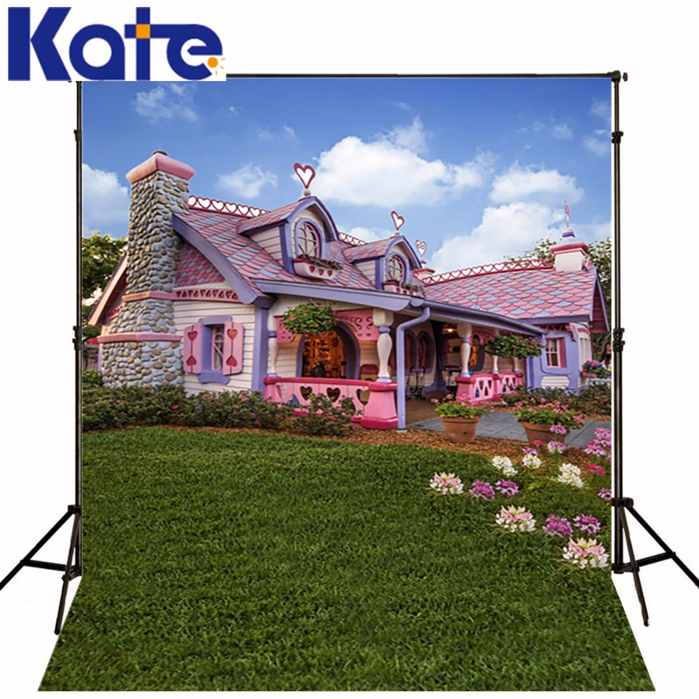 KATE Pink Fairy Houses Background Scenery Backdrop Spring Background Qutdoor Wedding Fotografie for Photo Studio kate natural scenery backdrop blue sky