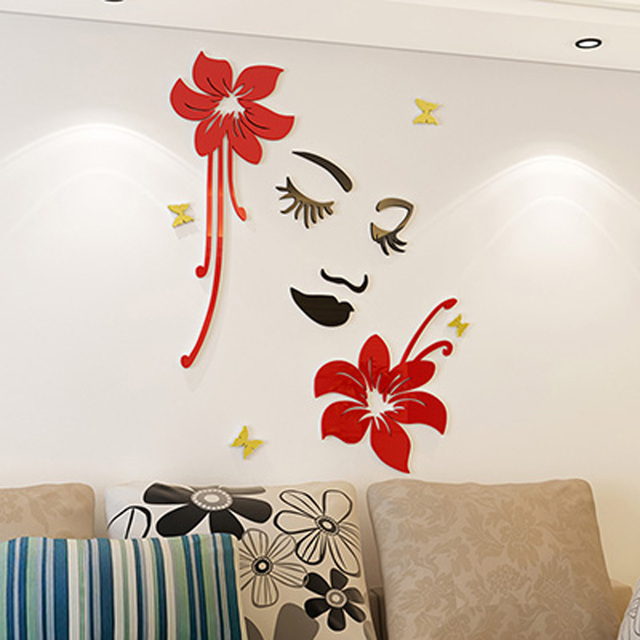 Beautiful flowers and girl design acrylic wall sticker for home beauty salon manicure shop decoration diy